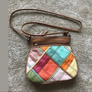 Fossil Crossbody Bag Purse Brown Leather Patches